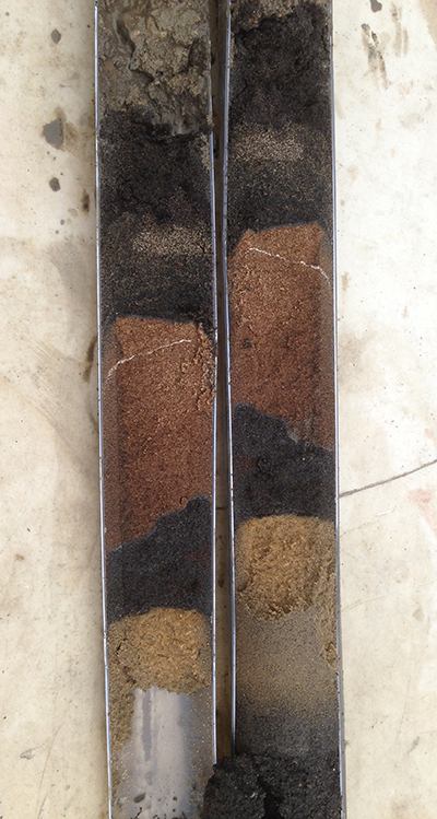 Core sample, foundry sand